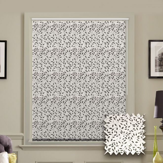 Made to Measure Vertical Blinds in Chatsworth Black fabric White patterned fabric - Just Blinds